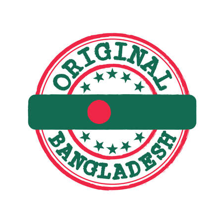 Vector Stamp of Original  with text Bangladesh and Tying in the middle with nation Flag. Grunge Rubber Texture Stamp of Original from Bangladesh.