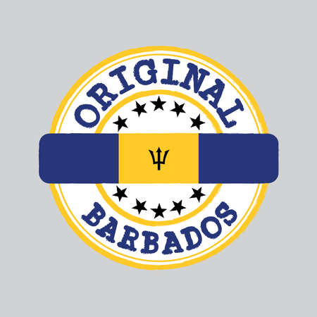 Vector Stamp of Original  with text Barbados and Tying in the middle with nation Flag. Grunge Rubber Texture Stamp of Original from Barbados.