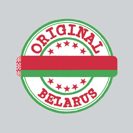 Vector Stamp of Original  with text Belarus and Tying in the middle with nation Flag. Grunge Rubber Texture Stamp of Original from Belarus.