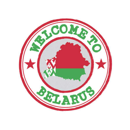 Vector stamp of welcome to Belarus with map outline of the nation in center. Grunge Rubber Texture Stamp of welcome to Belarus.