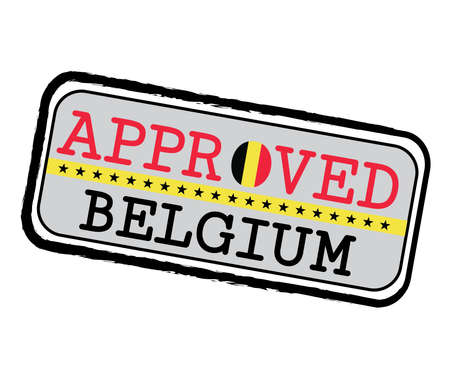 Vector Stamp of Approved  with Belgium Flag in the shape of O and text Belgium. Grunge Rubber Texture Stamp of Approved from Belgium.