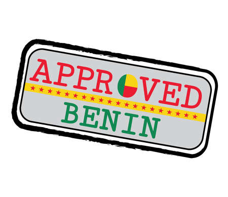 Vector Stamp of Approved  with Beninese Flag in the shape of O and text Benin. Grunge Rubber Texture Stamp of Approved from Benin.