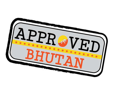 Vector Stamp of Approved  with Bhutanese Flag in the shape of O and text Bhutan. Grunge Rubber Texture Stamp of Approved from Bhutan.