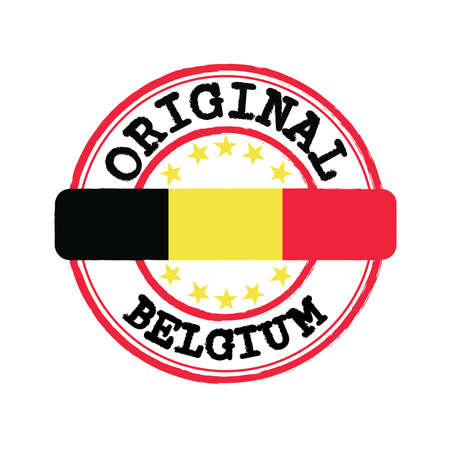Vector Stamp of Original  with text Belgium and Tying in the middle with nation Flag. Grunge Rubber Texture Stamp of Original from Belgium.