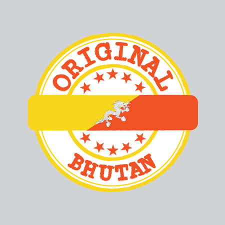 Vector Stamp of Original  with text Bhutan and Tying in the middle with nation Flag. Grunge Rubber Texture Stamp of Original from Bhutan. Ilustração