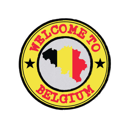 Vector stamp of welcome to Belgium with map outline of the nation in center. Grunge Rubber Texture Stamp of welcome to Belgium.