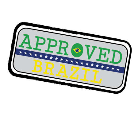 Vector Stamp of Approved with Brazilian Flag in the shape of O and text Brazil. Grunge Rubber Texture Stamp of Approved from Brazil. Illustration