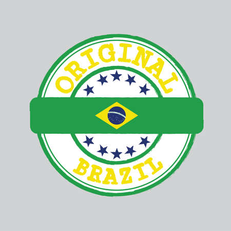 Vector Stamp of Original with text Brazil and Tying in the middle with nation Flag. Grunge Rubber Texture Stamp of Original from Brazil.