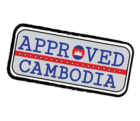 Vector Stamp of Approved with Cambodian Flag in the shape of O and text Cambodia. Grunge Rubber Texture Stamp of Approved from Cambodia. Illustration