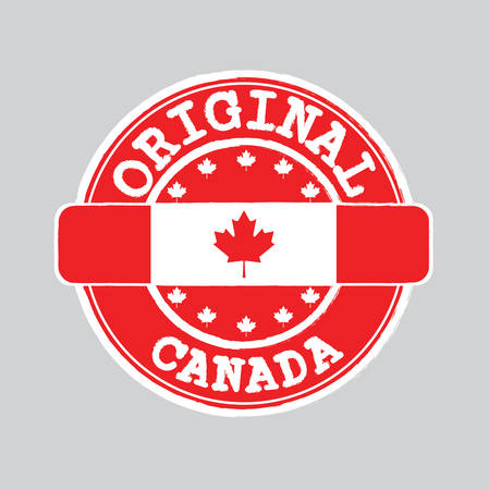 Vector Stamp of Original with text Canada and Tying in the middle with nation Flag. Grunge Rubber Texture Stamp of Original from Canada.