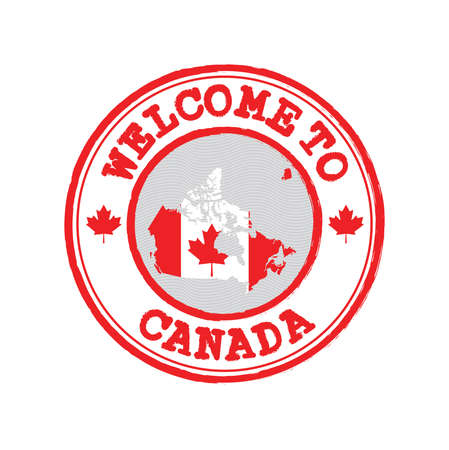 Vector stamp of welcome to Canada with map outline of the nation in center. Grunge Rubber Texture Stamp of welcome to Canada. Illusztráció
