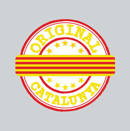 Vector Stamp of Original with text Catalunya and Tying in the middle with Catalonia Flag. Grunge Rubber Texture Stamp of Original from Catalonia. Ilustração