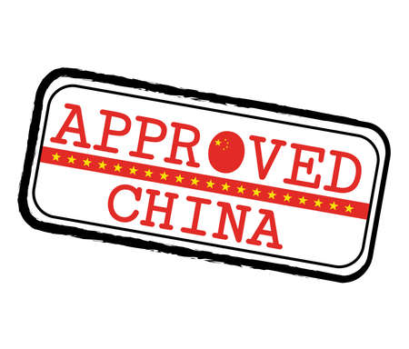Vector Stamp of Approved with Chinese Flag in the shape of O and text China. Grunge Rubber Texture Stamp of Approved from China.