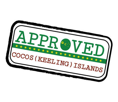 Vector Stamp of Approved with Cocos (Keeling) Flag in the shape of O and text Cocos (Keeling) Islands. Grunge Rubber Texture Stamp of Approved from Cocos (Keeling) Islands.