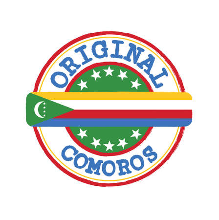 Vector Stamp of Original with text Comoros and Tying in the middle with nation Flag. Grunge Rubber Texture Stamp of Original from Comoros.