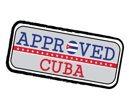 Vector Stamp of Approved with Cuba Flag in the shape of O and text Cuba. Grunge Rubber Texture Stamp of Approved from Cuba.  イラスト・ベクター素材