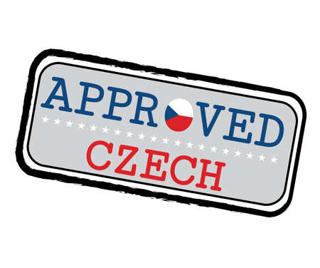 Vector Stamp of Approved with Czech Republic Flag in the shape of O and text Czech. Grunge Rubber Texture Stamp of Approved from Czech.  イラスト・ベクター素材
