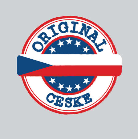 Vector Stamp of Original with text Ceske and Tying in the middle with Czech Flag. Grunge Rubber Texture Stamp of Original from Czech Republic.  イラスト・ベクター素材