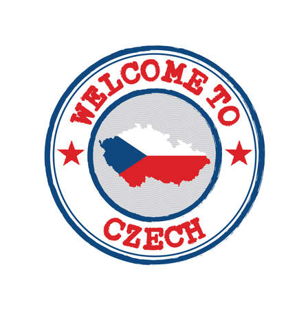 Vector stamp of welcome to Czech Republic with map outline of the nation in center. Grunge Rubber Texture Stamp of welcome to Czech.