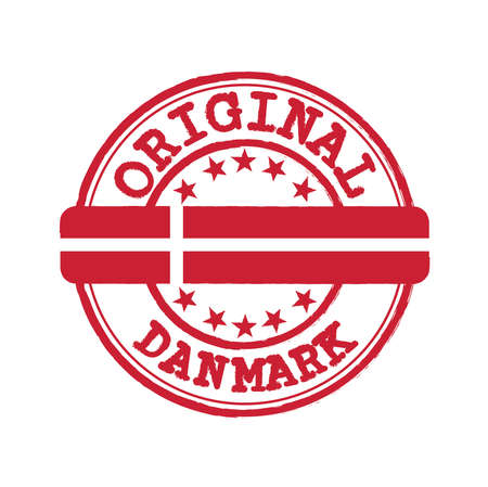 Vector Stamp of Original with text Danmark and Tying in the middle with Denmark Flag. Grunge Rubber Texture Stamp of Original from Denmark.