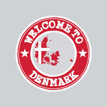 Vector stamp of welcome to Denmark with map outline of the nation in center. Grunge Rubber Texture Stamp of welcome to Denmark.
