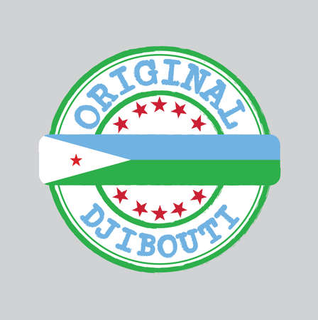Vector Stamp of Original logo with text Djibouti and Tying in the middle with nation Flag. Grunge Rubber Texture Stamp of Original from Djibouti.