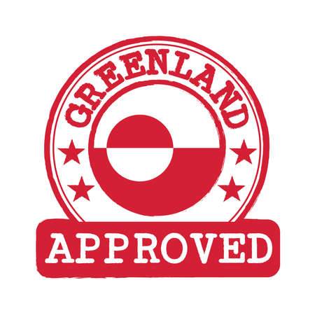 Vector Stamp of Approved  with Greenland Flag in the round shape on the center. Grunge Rubber Texture Stamp of Approved from Greenland.
