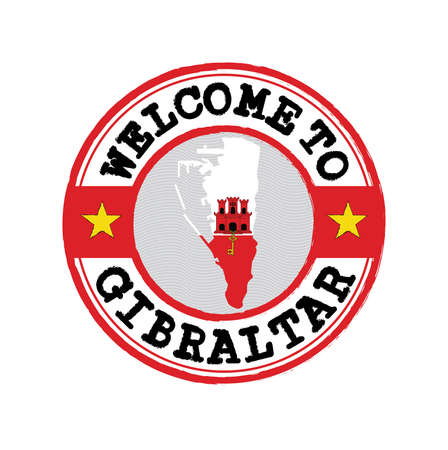 Vector stamp of welcome to Gibraltar with map outline of the nation in center. Grunge Rubber Texture Stamp of welcome to Gibraltar.