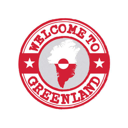 Vector stamp of welcome to Greenland with map outline of the nation in center. Grunge Rubber Texture Stamp of welcome to Greenland.