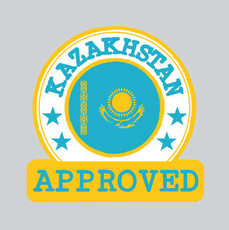 Vector Stamp of Approved with Kazakhstan Flag in the round shape on the center. Grunge Rubber Texture Stamp of Approved Kazakhstan.