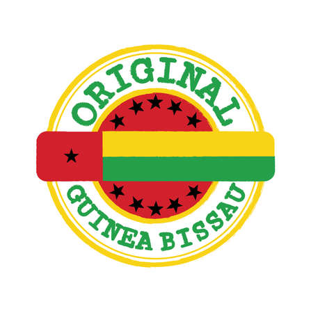 Vector Stamp of Original with text Guinea Bissau and Tying in the middle with nation Flag. Grunge Rubber Texture Stamp of Original from Guinea Bissau.