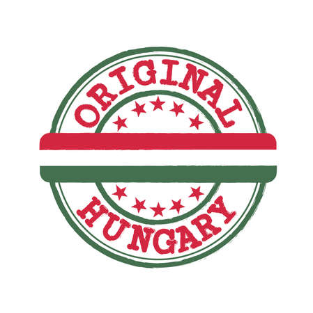 Vector Stamp of Original  with text Hungary and Tying in the middle with nation Flag. Grunge Rubber Texture Stamp of Original from Hungary.