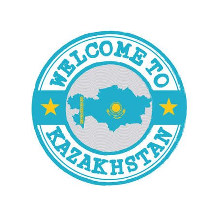 Vector stamp of welcome to Kazakhstan with map outline of the nation in center. Grunge Rubber Texture Stamp of welcome to Kazakhstan.