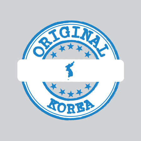 Vector Stamp of Original  with text Korea and Tying in the middle with Unification Korea Flag. Grunge Rubber Texture Stamp of Original from Korea.