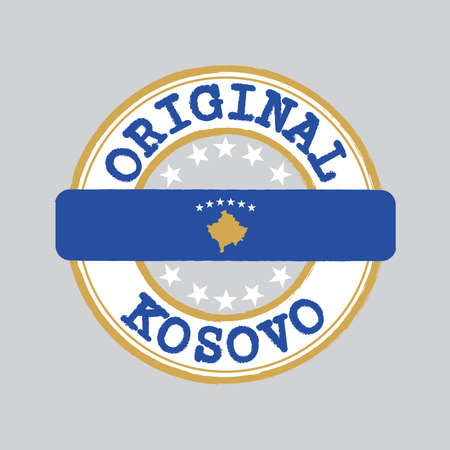 Vector Stamp of Original  with text Kosovo and Tying in the middle with nation Flag. Grunge Rubber Texture Stamp of Original from Kosovo.