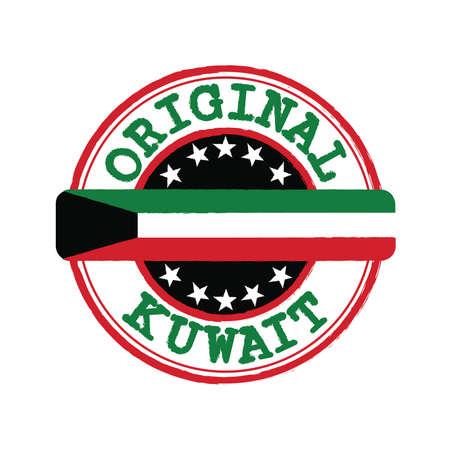 Timbre vectoriel d'origine avec texte Koweït et attachant au milieu avec le drapeau de la nation. Tampon de texture en caoutchouc grunge d'origine du Koweït.