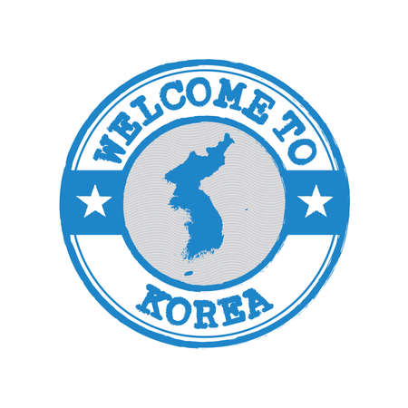 Vector stamp of welcome to Korea with map outline of Korean Peninsula in center. Grunge Rubber Texture Stamp of welcome to Korea. 일러스트