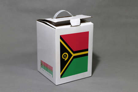 Vanuatu flag on white box with barcode and the color of nation flag. The concept of export trading from Vanuatu, paper packaging for put products.