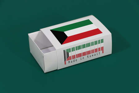 Kuwait flag on white box with barcode and the color of nation flag on green background, paper packaging for put match or products. The concept of export trading from Kuwait.