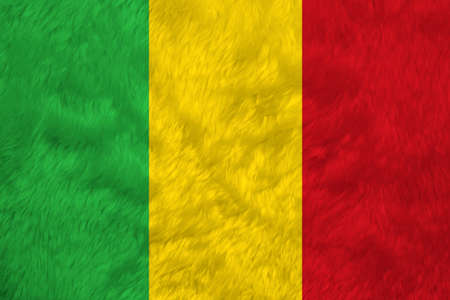 Towel fabric pattern flag of Mali, Crease of Mali flag background. A vertical tricolor of green gold and red.