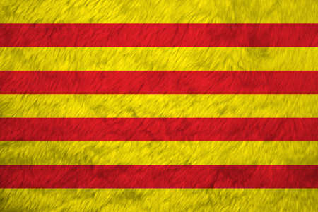 Towel fabric pattern flag of Catalonia, Crease of Catalunya flag background. The red stripe on golden background.