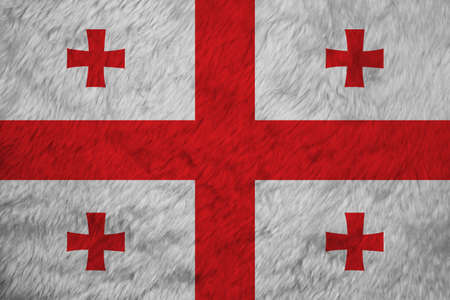 Towel fabric pattern flag of Georgia, Crease of Georgian flag background, white rectangle, with a large red cross. four Bolnur-Katskhuri crosses on four corners.