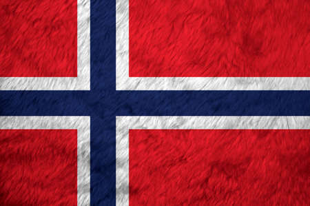 Towel fabric pattern flag of Norway, Crease of Norwegian flag background, a white-fimbriated blue Nordic cross on a red field.