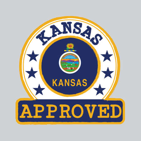 Vector Stamp of Approved logo with Kansas Flag in the round shape on the center. The states of America. Grunge Rubber Texture Stamp of Approved from Kansas.
