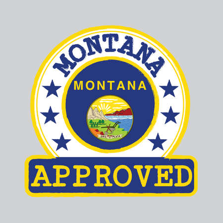 Vector Stamp of Approved logo with Montana Flag in the round shape on the center. The states of America. Grunge Rubber Texture Stamp of Approved from Montana.