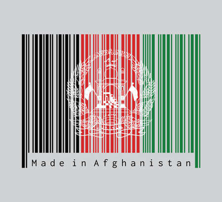Barcode set the color of Afghanistan flag, black red and green with the National Emblem in white centered. text: Made in Afghanistan. Concept of sale or business.