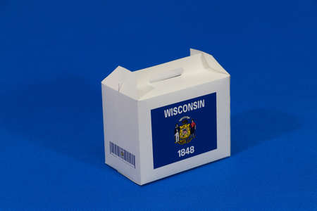 Wisconsin flag on white box with barcode and the color of state flag on blue background. The concept of export trading from Wisconsin, paper packaging for put products.
