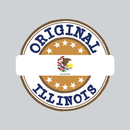 Vector Stamp of Original logo and Tying in the middle with Illinois flag, the states of America. Grunge Rubber Texture Stamp of Original Illinois. 일러스트