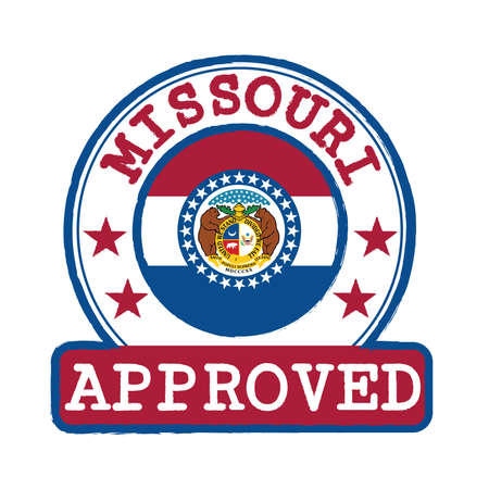 Vector Stamp of Approved logo with Missouri Flag in the round shape on the center. The states of America. Grunge Rubber Texture Stamp of Approved from Missouri.