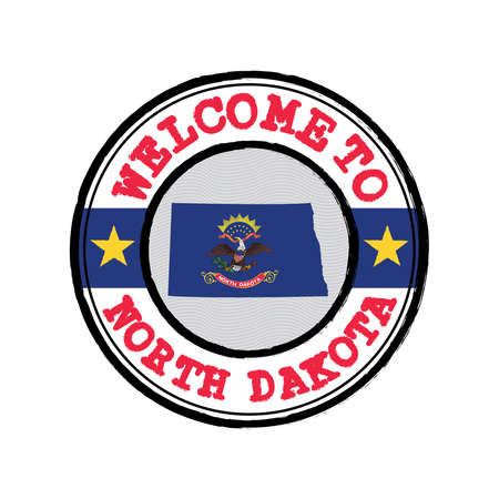 Vector stamp of welcome to North Dakota with map outline of the states in center. the states of America. Grunge Rubber Texture Stamp of welcome to North Dakota. 일러스트